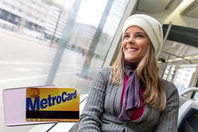 rider with MetroCard holder